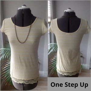 One Step Up Yellow & White Striped Tee